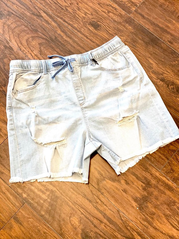 CURVY GIRL Terri Light Blue Jean Distressed Shorts With Drawstring