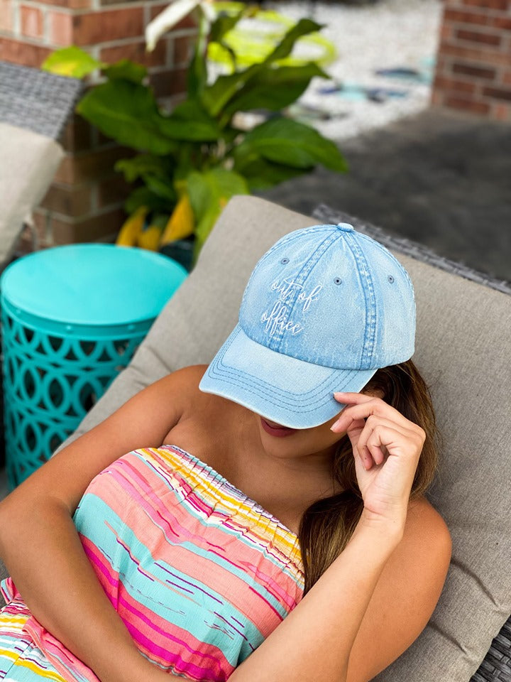 Denim Out of Office Embroidered Hat