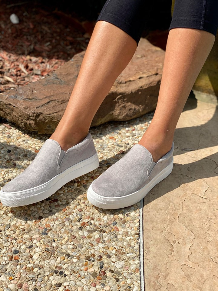 Comfy Grey Slip On Shoes