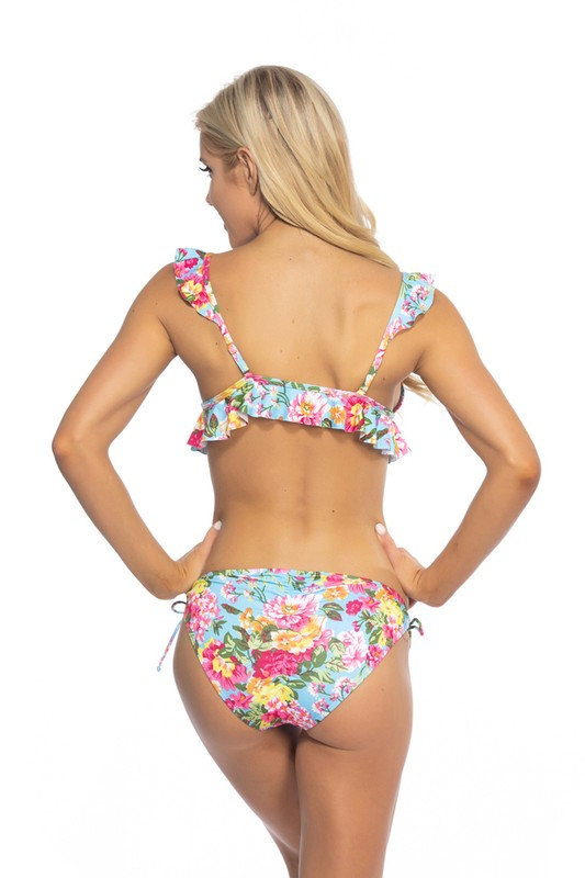 Sky Blue Floral Cheeky Bathing Suit Bottoms