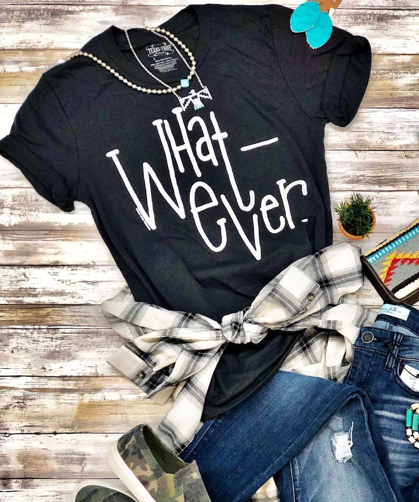 Whatever Texas True Threads Dark Grey Tee, Tops - Sweet Bee Boutique