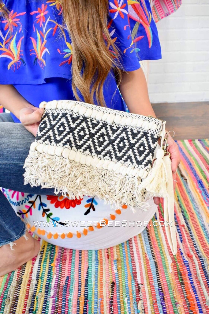 Natural & Black Boho Woven Clutch, Hats & More - Sweet Bee Boutique