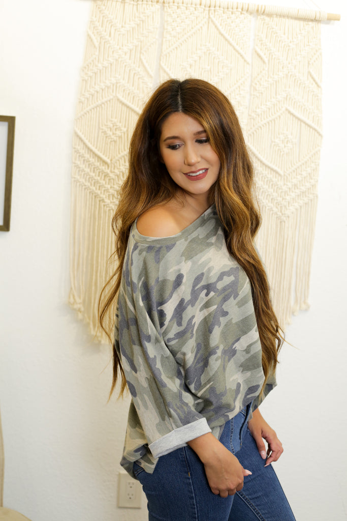 Cleo Army French Terry Tunic With Dolman Style Sleeves And Slit Hem