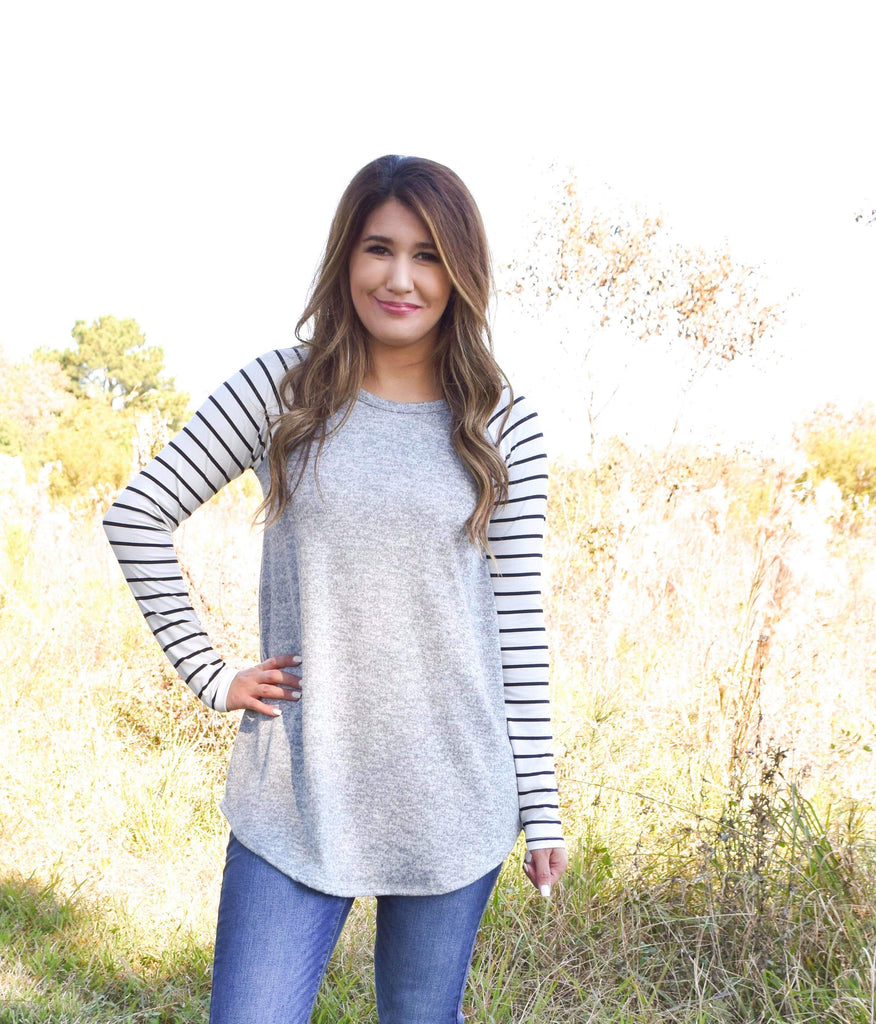 Let Your Hair Down Grey Top with Black and White Color Block Stripes