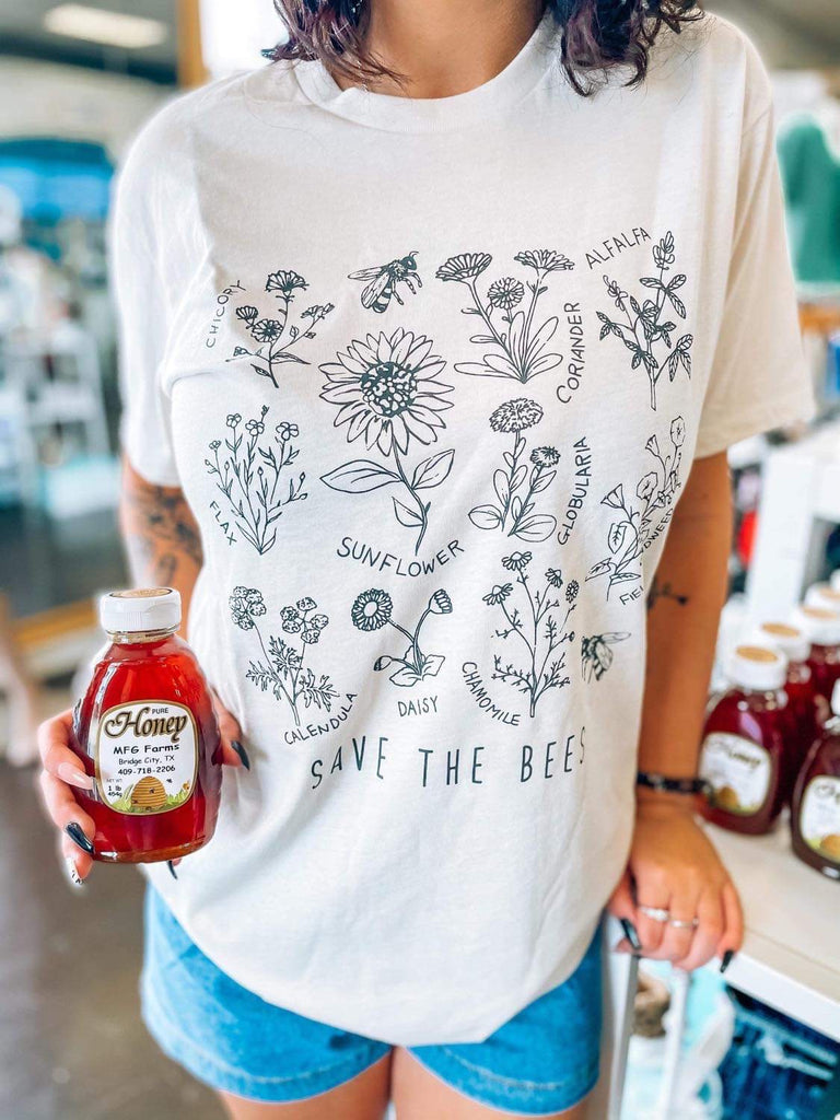 Ivory Save The Bees Boyfriend Fit T-Shirt