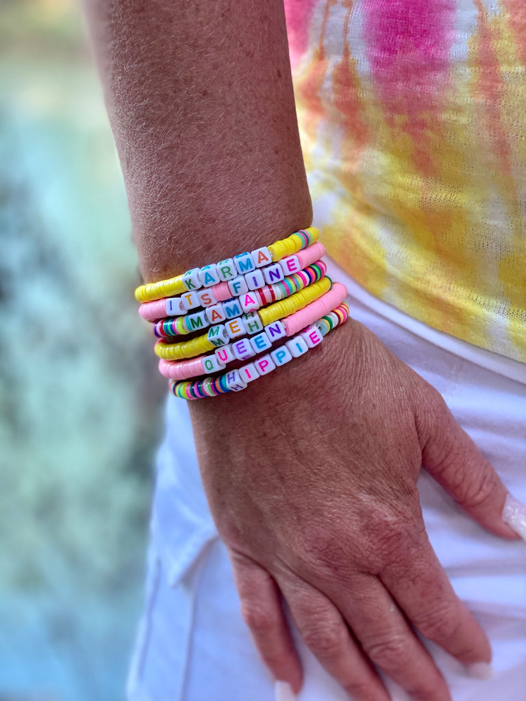 Bright Pottery Beaded Fun & Sassy Word Bracelets by Boujie Bee