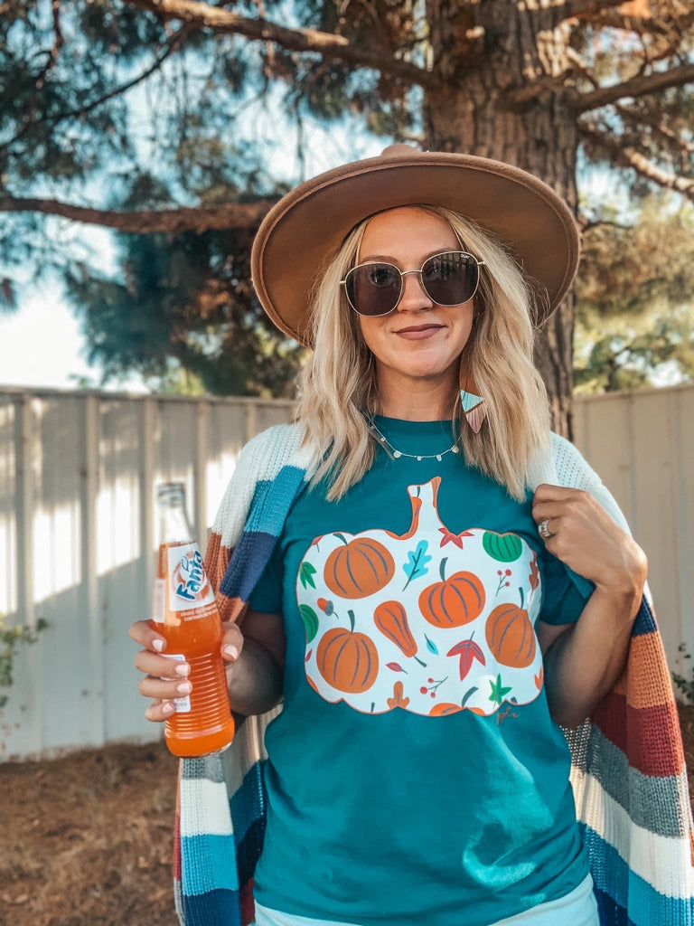 Pumpkin Pumpkin Fall Bella Canvas Teal Tee