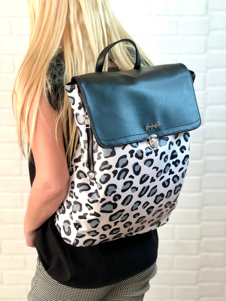 Boujie Bee Pattern White Back Pack | White Leopard or Aztec
