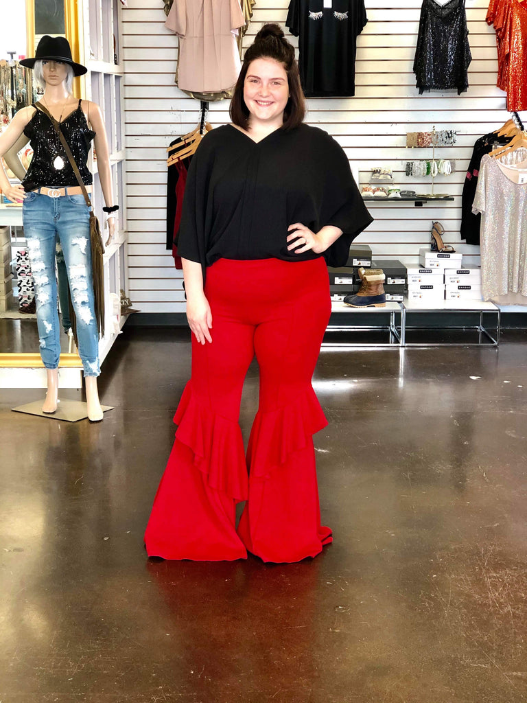 Curvy Girl Boho Hippie Vibes Red Ruffle Bell Bottom Pants