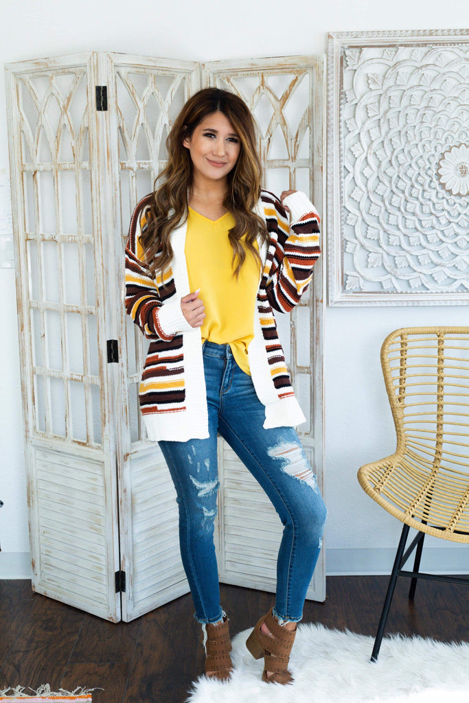 Waverly Brown and Ivory Open Front Long Sleeve Cardigan, Tops - Sweet Bee Boutique