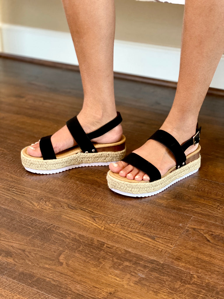 Black Platform Espadrilles With Adjustable Buckle