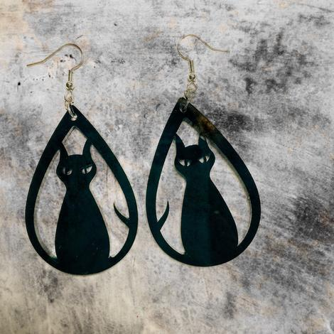 Halloween Acrylic Tear Drop Earrings| Ghost, Witch, Web, Cat
