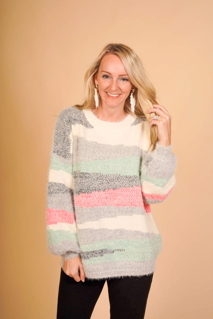 Rigby Color Block Long Haired Knitted Sweater