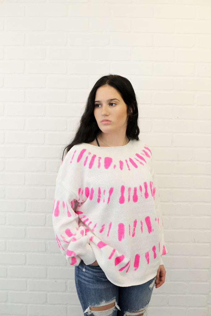 Malia Pink Print Knit Sweater With Drop Shoulder And Puff Sleeves