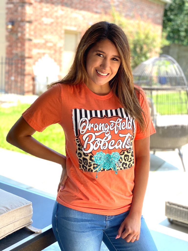 School Spirit Leopard & Stripes Bella Canvas T-Shirt