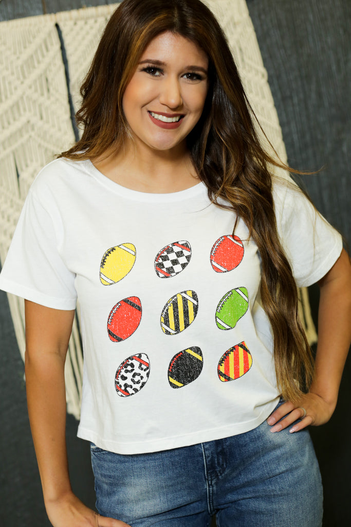 White Multi Color Football T-Shirt