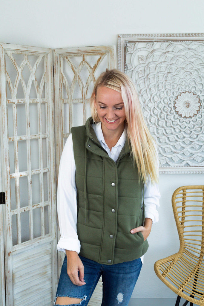 Ryan Olive Puff Jacket Vest with Snap Button