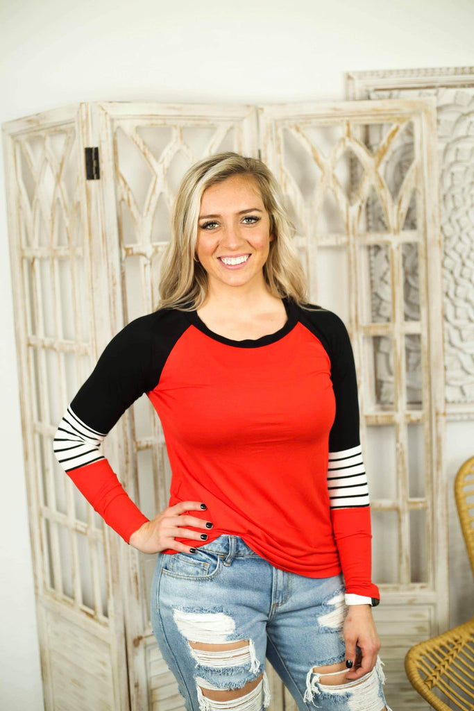 Friday Night Lights Red And Black Detailed Top