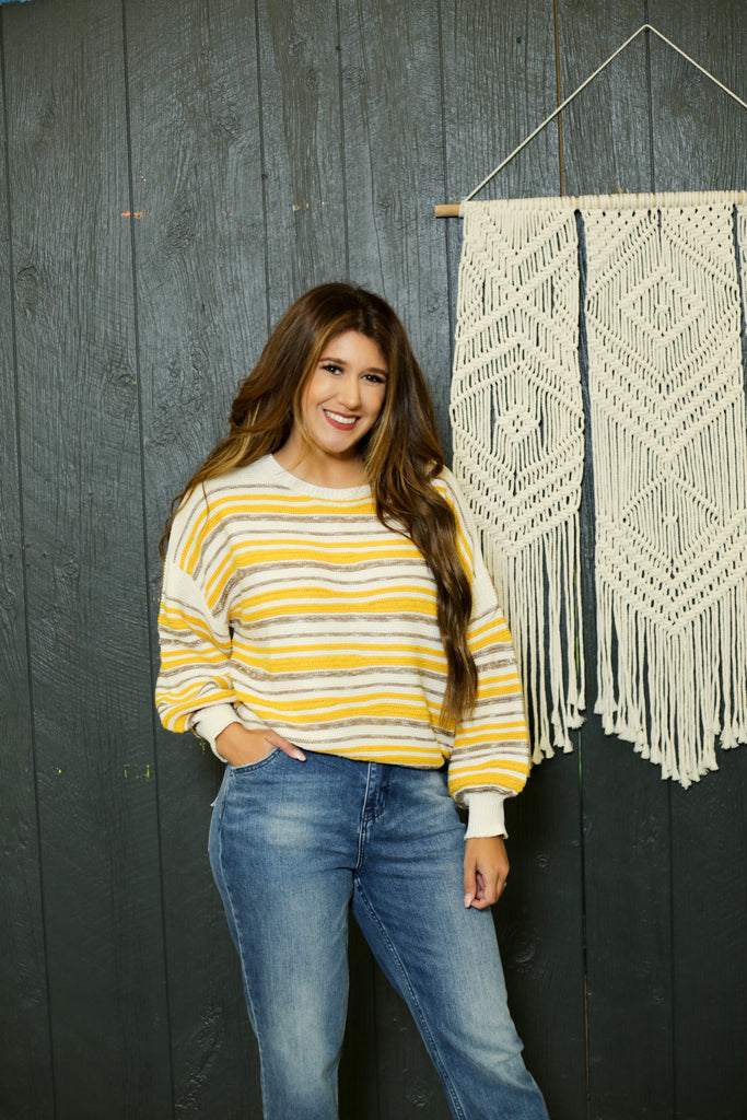 Phoebe Colorblock Knit Sweater With Balloon Sleeves Featuring Mustard And Natural Colors