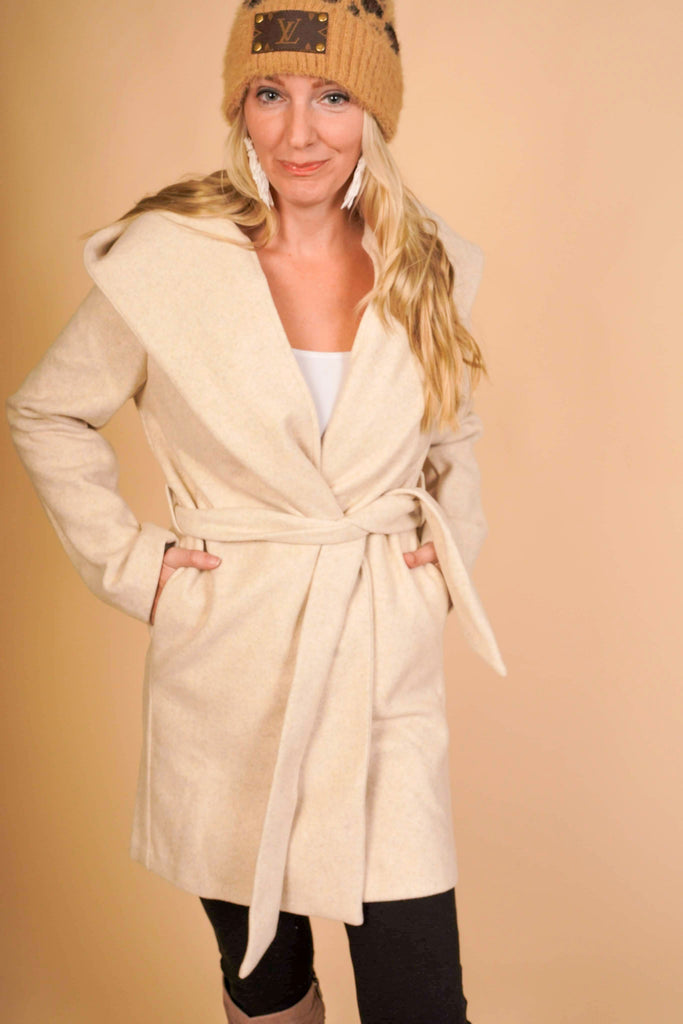 Warm Your Soul Ivory Hooded Knee Length Coat With Tie