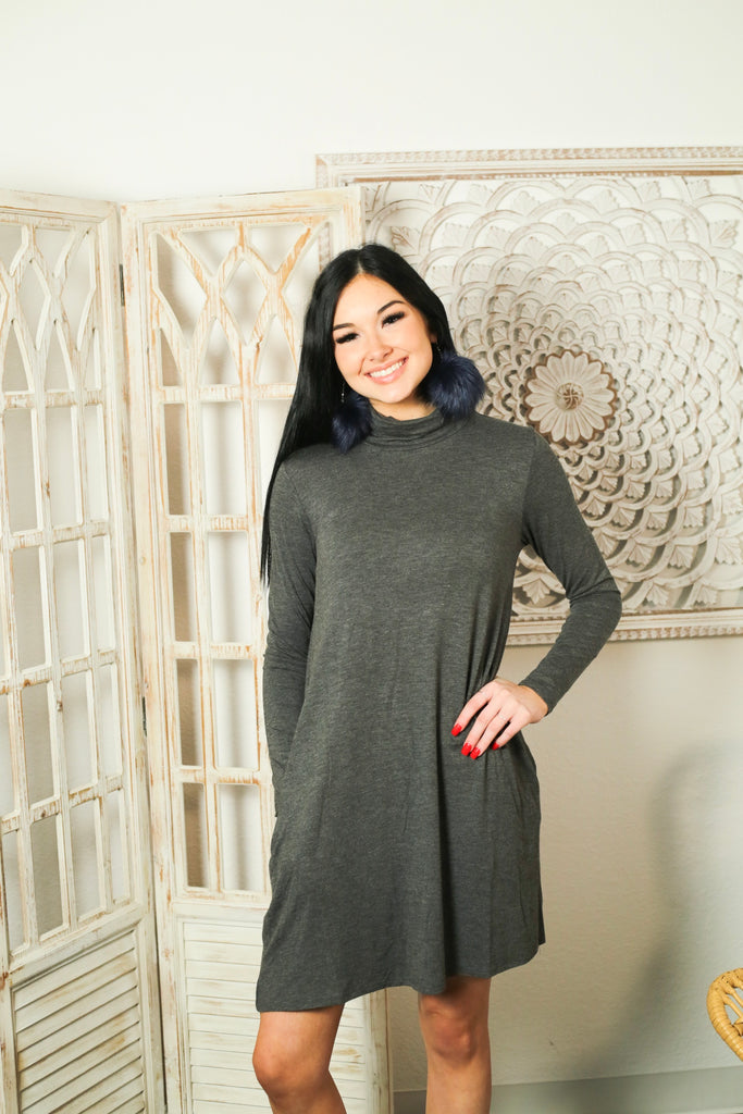 Charcoal Turtle Neck Long Sleeve Knit Dress