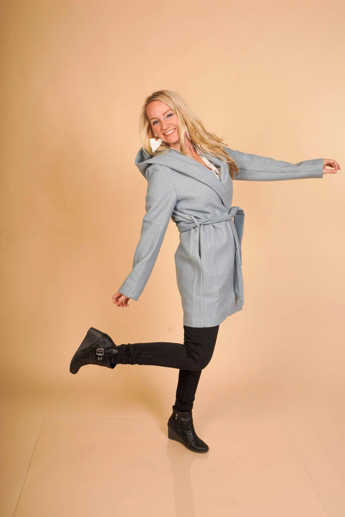 Warm Your Soul Blue Stone Hooded Knee Length Coat With Tie