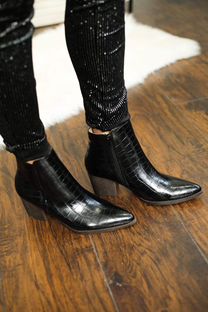 Celeste Black Crocodile Ankle Booties, Footwear - Sweet Bee Boutique