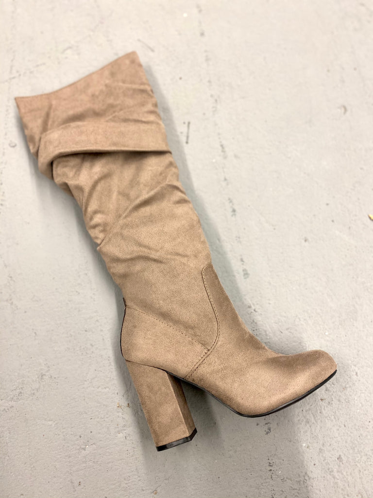 Madeline Over The Knee Heeled Taupe Boots With Rouching Detail
