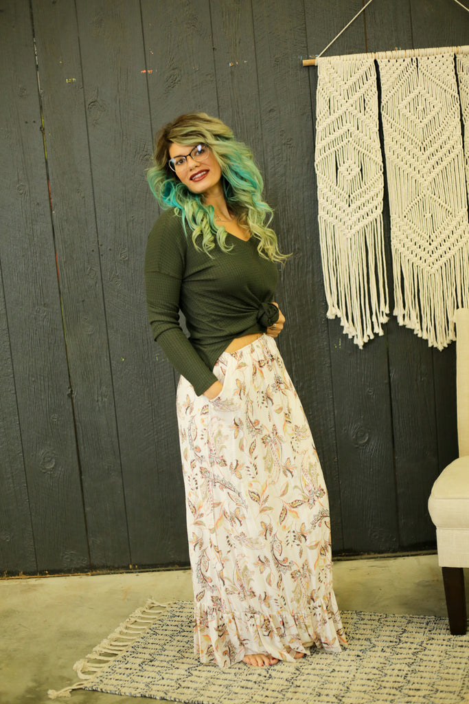 Monica Cream And Green Paisley Print Maxi Skirt With Elastic Waist