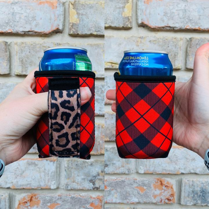 Christmas Patterned 12 OZ Can Handler With Pocket