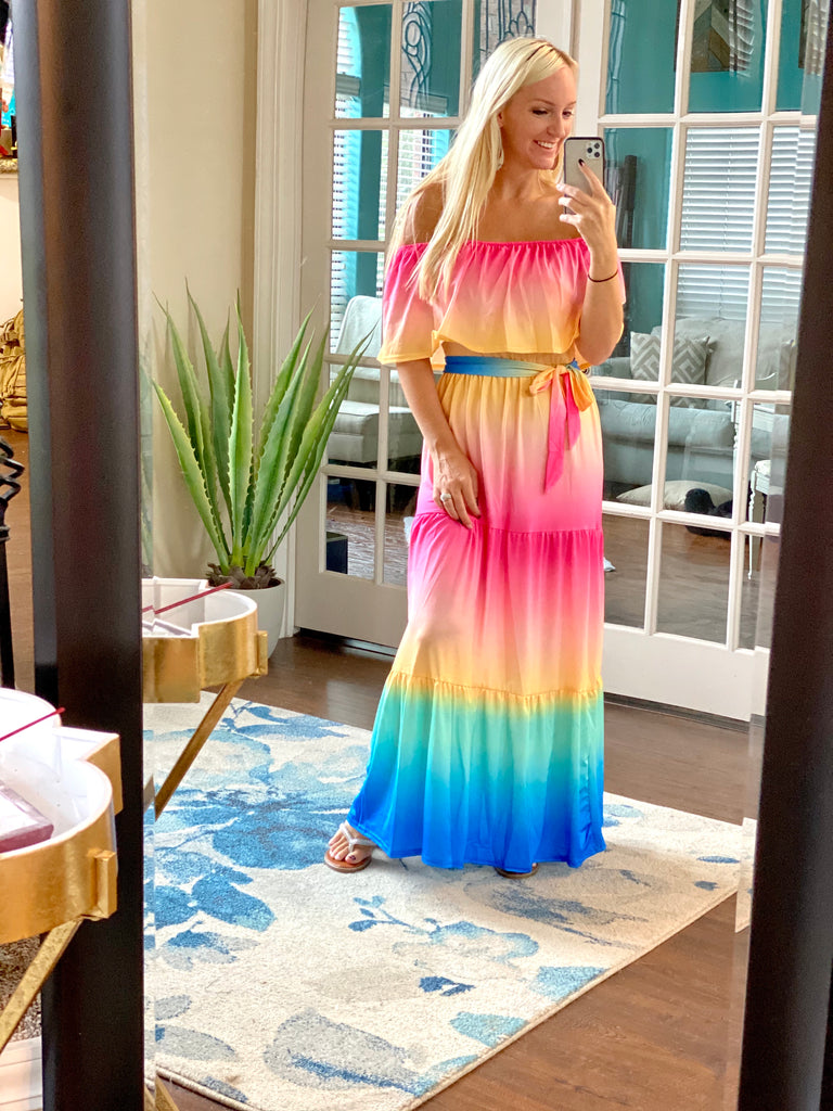 Texas Sunset Off The Shoulder Ruffle Maxi Dress