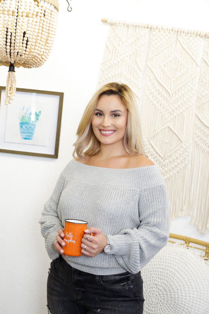 Bristol Off The Shoulder Gray Knit Sweater With Balloon Sleeves