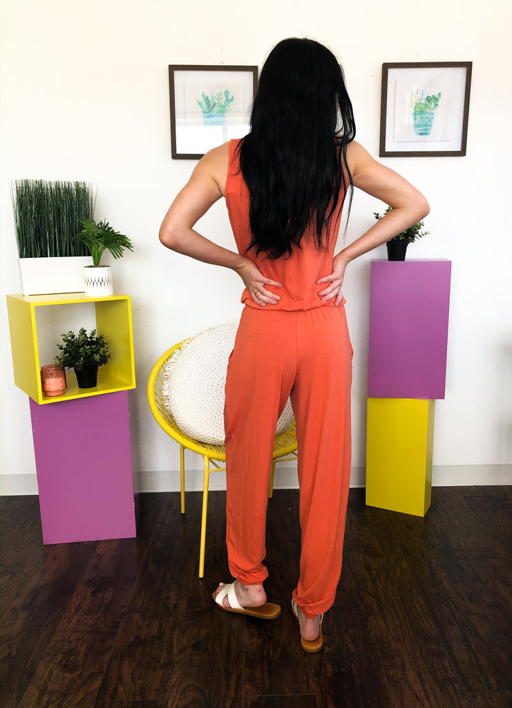 Mickey Ash Copper Sleeveless Jumpsuit