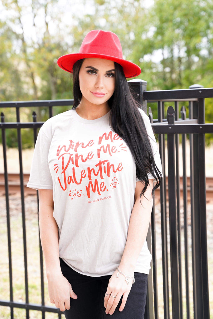 Wine Me, Dine Me, And Valentine Me Grey T-Shirt