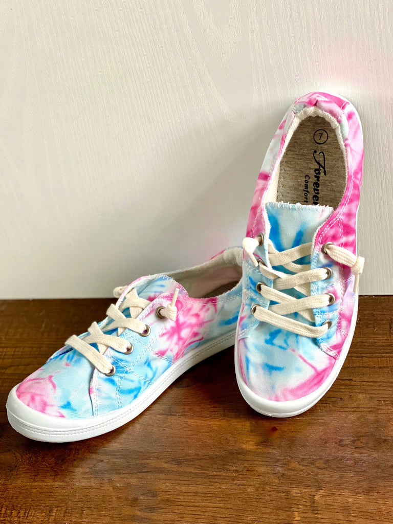 Comfort Fit Pink & Blue Tie Dye Lace Up Shoes
