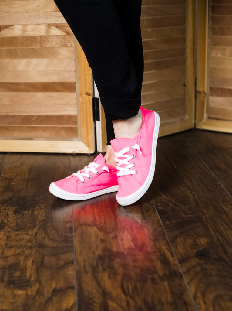 Neon Pink Canvas Sneakers