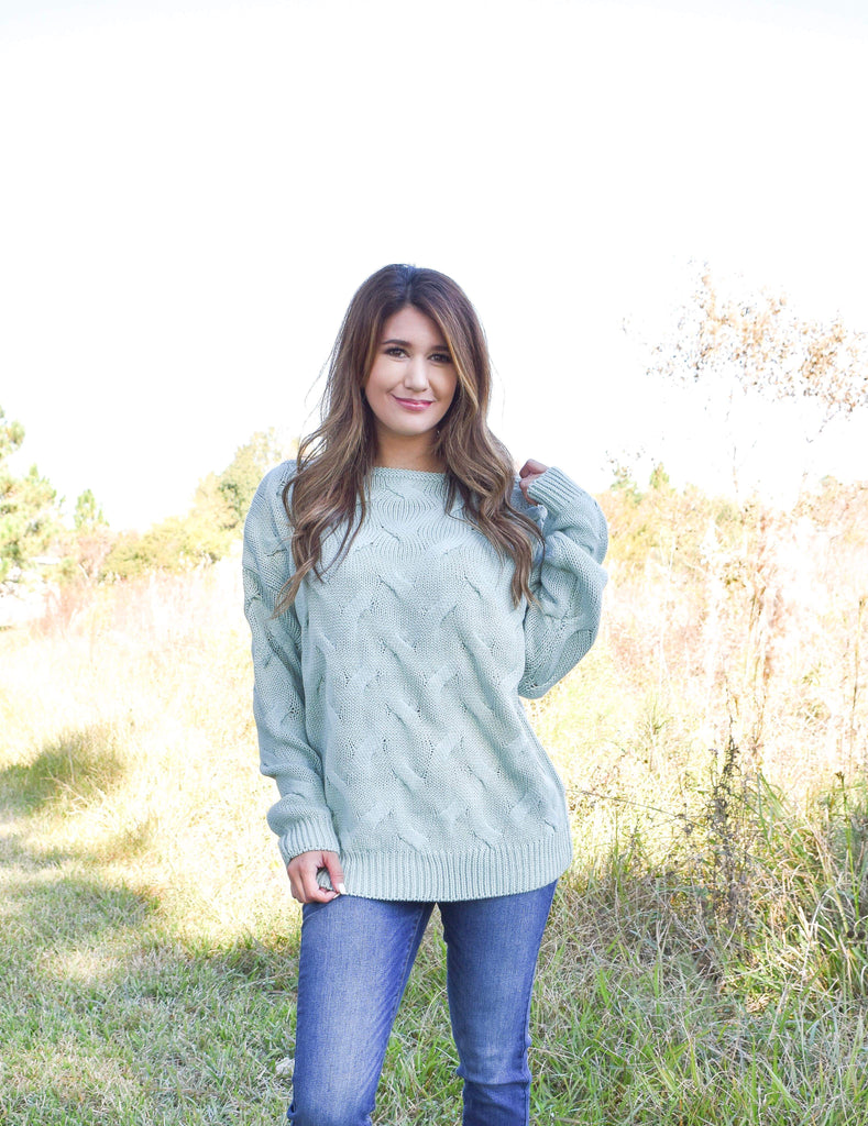 Dusty Mint Textured Waves Sweater Wide Neck Top