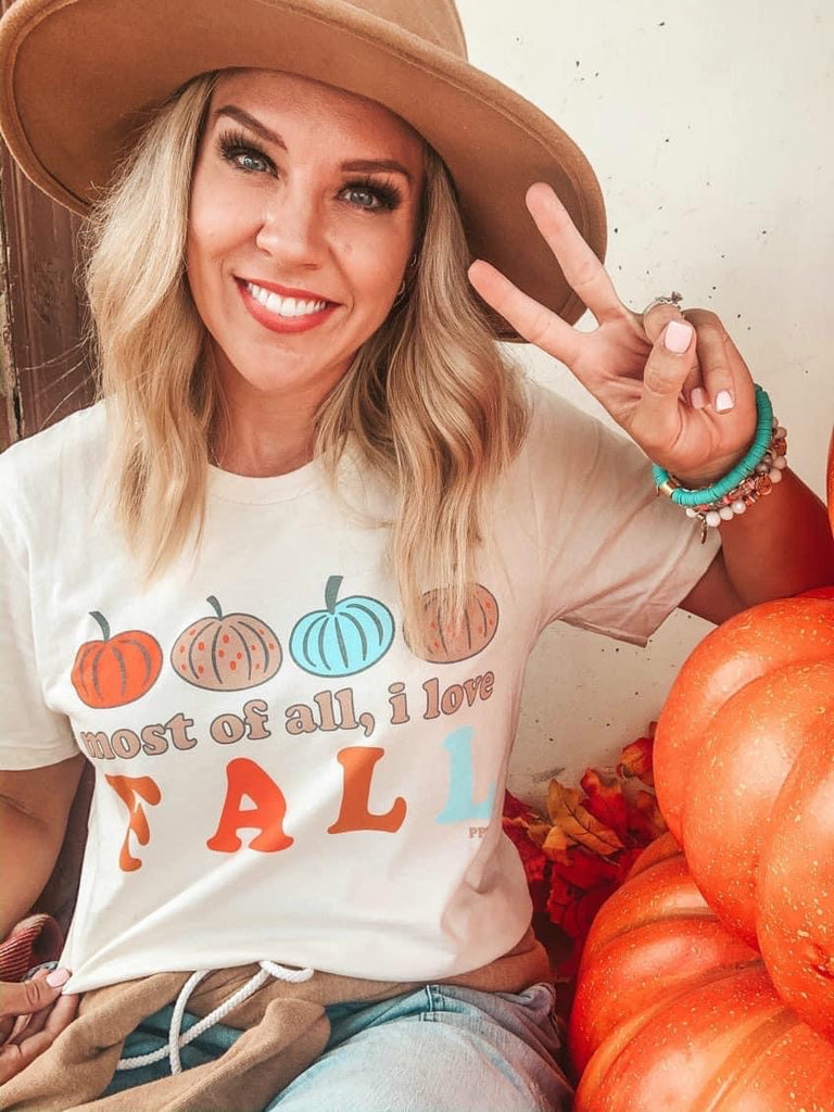Most Of All, I Love Fall Cream Tee With Pumpkin Designs