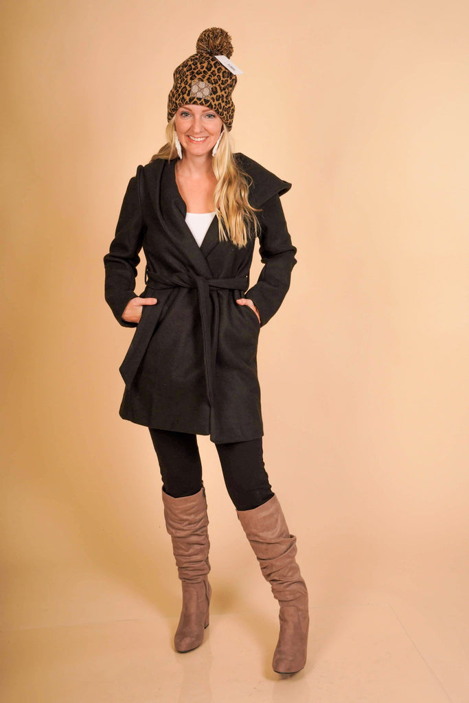 Warm Your Soul Black Hooded Knee Length Coat With Tie