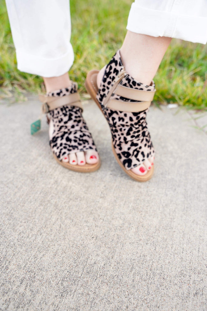 Blowfish Leopard Side Cut Out Sandals