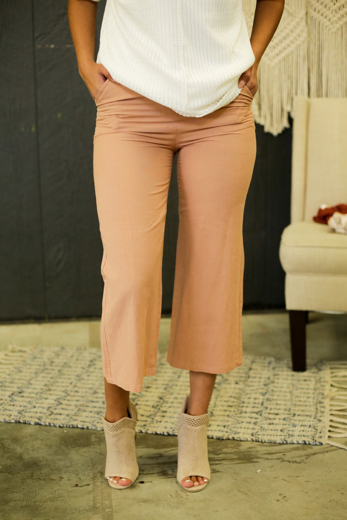 Dallas Blush Linen Pants With Brown Button