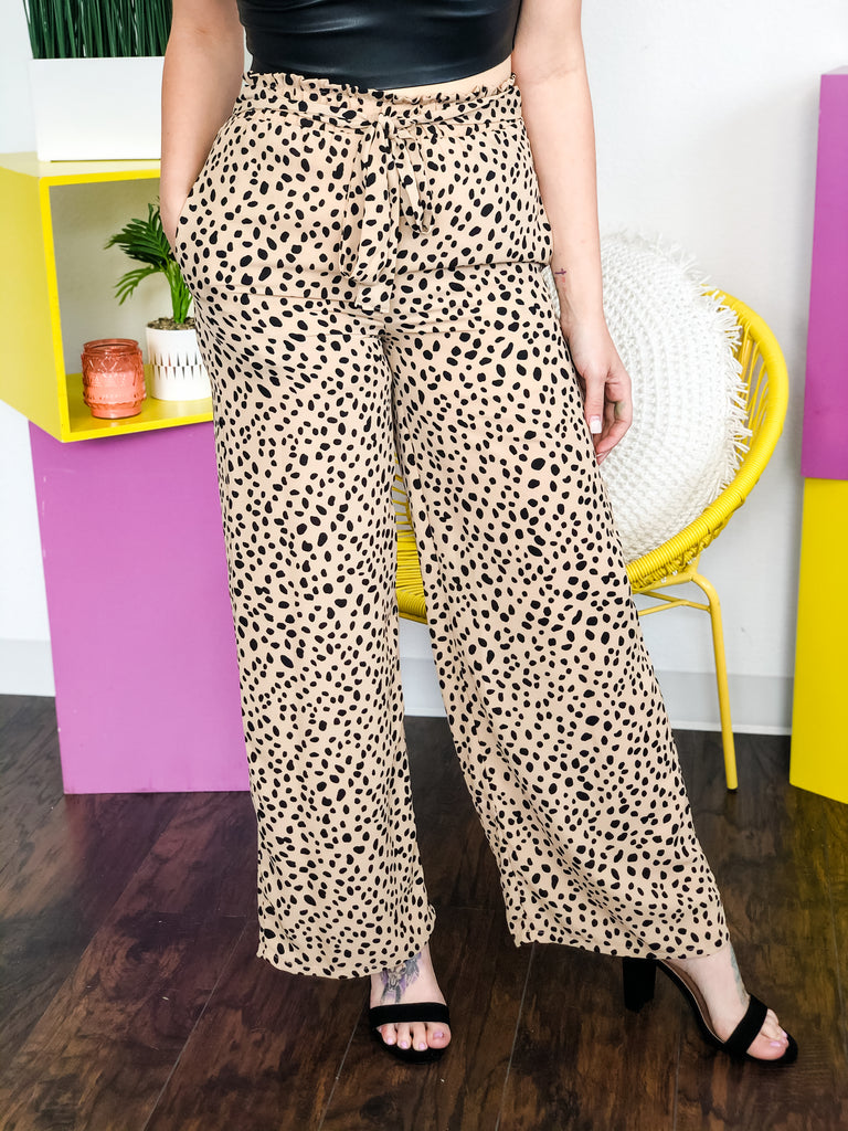 Jasmine Leopard Woven Fashion Pants With Front Tie