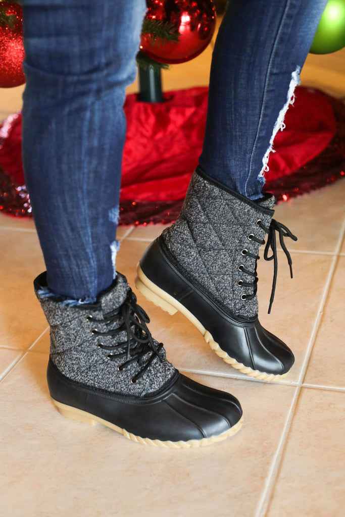 RESTOCKED - Olivia Miller Grey Black 'I Know' Duck Boots