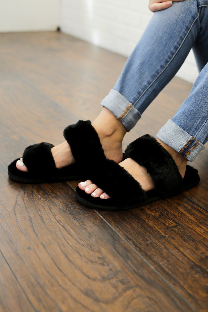 Lilah Black Fuzzy Strappy Slippers