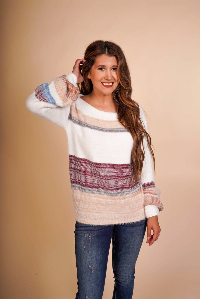 Kendi Multi Color Off The Shoulder Knitted Sweater