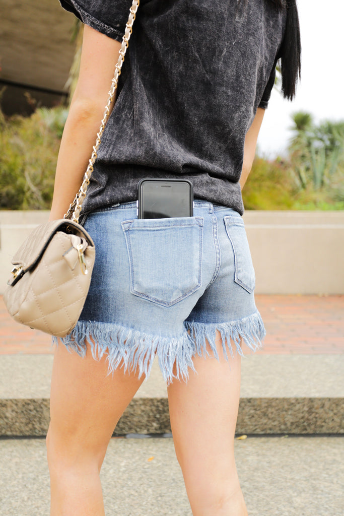 Reese Frayed Edged Kancan Denim Shorts