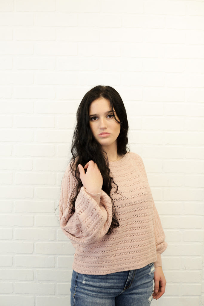Elizabeth Blush Knit Relaxed Fit Sweater With Lantern Sleeves