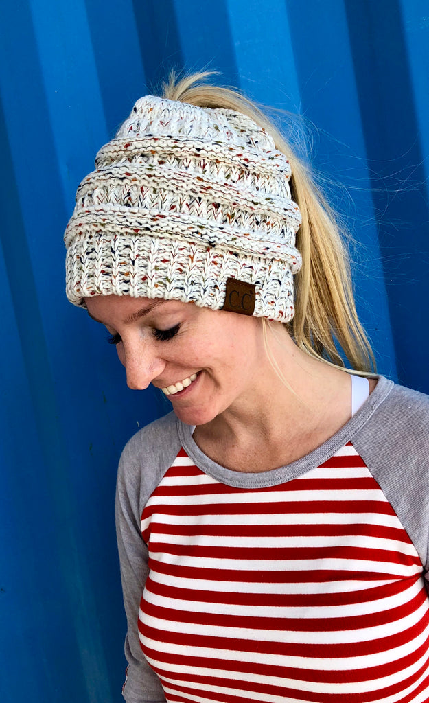 C.C Branded Messy Bun Hair Beanies - Multiple Color Options-Hats & More-Sweet Bee Boutique