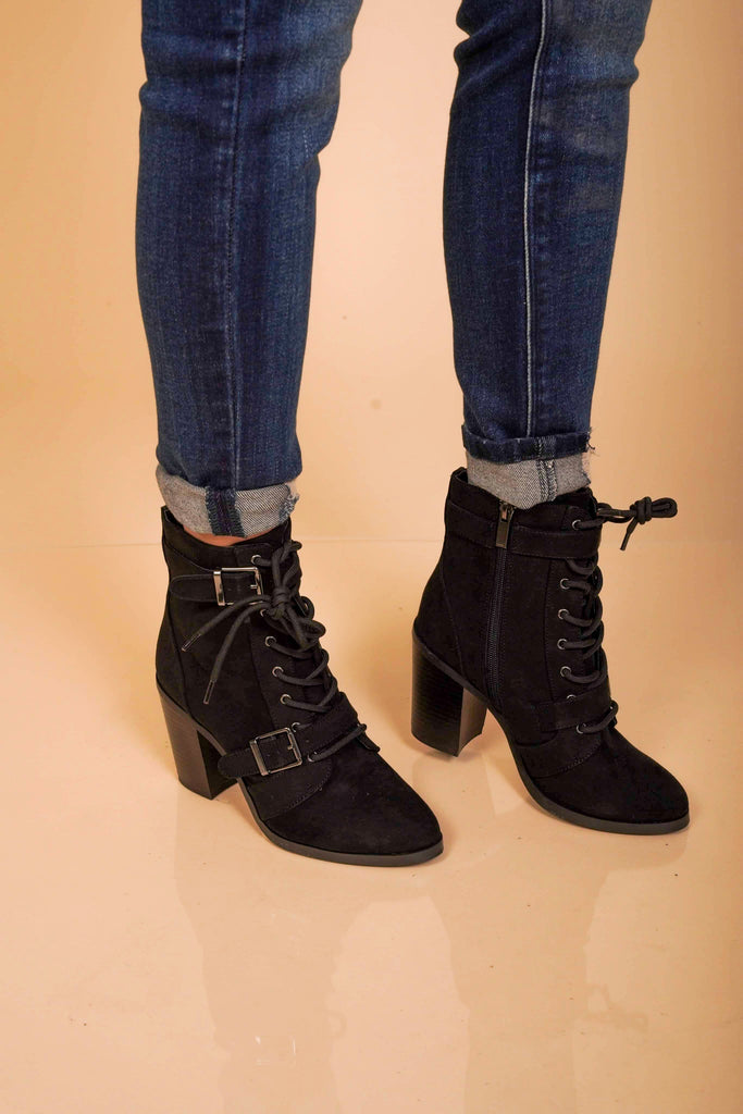 Miranda Lace-Up Black Heeled Boots With Two Buckle Straps And Full Inside Zipper