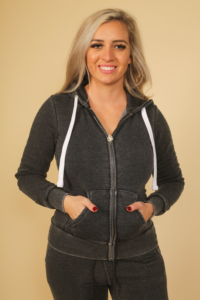 Musgrave Fleece Burnout Hooded Zip Up Jacket With Kanagaroo Pockets